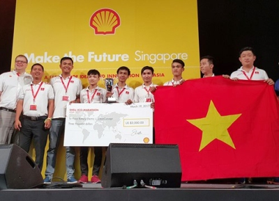 It is the 3rd time Lac Hong University has won the championship of the Shell Eco – marathon Asia